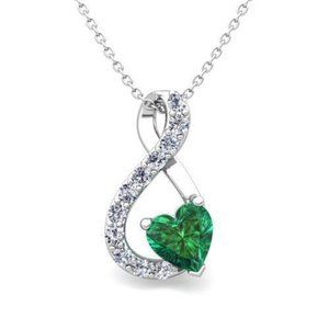 Jewelry - Heart Shape Emerald With Round Diamonds Pendant Ne